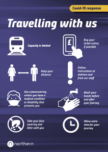 Travelling Safely with Northern Trains poster